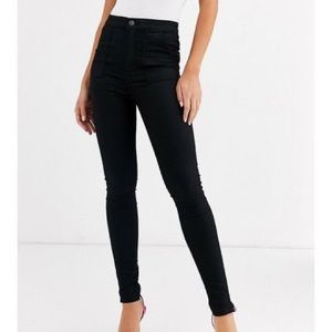 ASOS High Waisted Satin Skinny Trousers